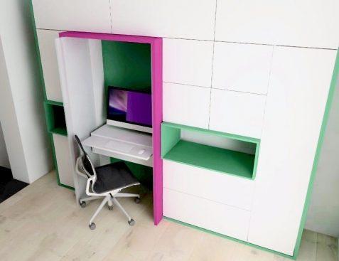 werkplek, strak, wit, bureau, mini-kantoor, kast, maatwerk, inklapbare schuifdeuren, kleur, ontwerp, modern