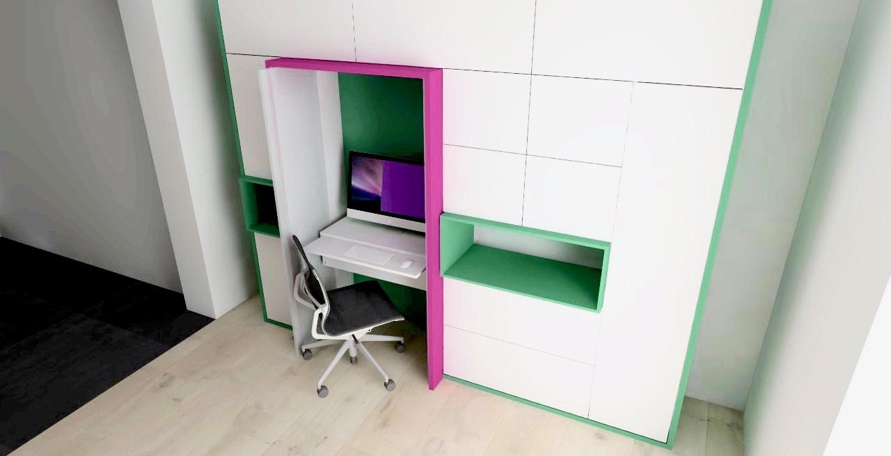 Wandkast met geïntegreerde werkplek