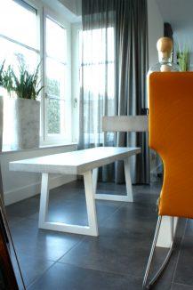 tafel, stuc, betonlook, staal, poedercoat, bankje, ontwerp, meubel, interieur