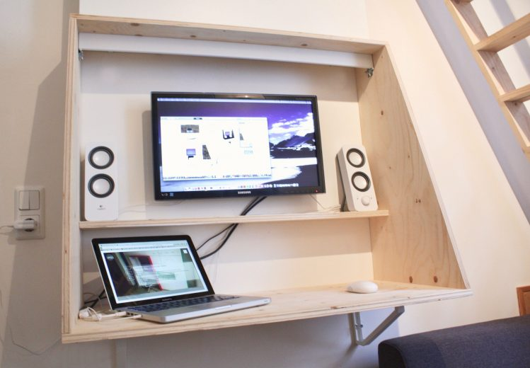 ontwerp, bureau, strak, hout, underlayment, multiplex, zwevend, multifunctioneel, werkplek, simpel