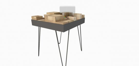 hout, blokken, staal, sidetable, tafeltje, interieur, design, simpel, fun, kek, strak